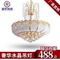 水晶吊灯 餐厅客厅创意吊灯 欧式水晶吊灯奢华 金色圆形吊灯