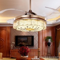 欧式隐形风扇吊灯仿古奢华水晶酒店吊扇灯客厅餐厅卧室简约时尚灯