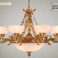 全铜欧式吊灯奢华美式复古云石客厅灯饰简欧大气酒店纯铜灯具