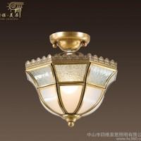 欧式简约全铜吸顶灯过道阳台玄关小铜灯飘窗装饰仿古吸顶灯具