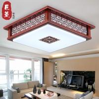 现代简约中式灯具LED客厅吸顶灯正方形实木亚克力仿古餐厅卧室